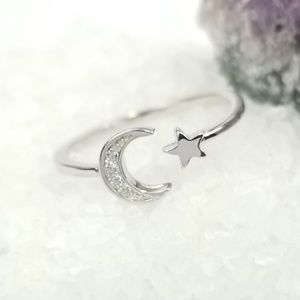 {The When the Moon Met the Star Ring} Sterling CZ